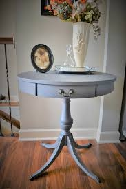 vintage pedestal side table vintage mersman drum table chalk painted round table with curved