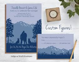 personalized wedding invitations custom drawing mountain wedding invitations blue weddings