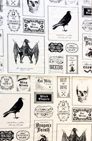 gothic horror raven skull creepy labels bat halloween witch night