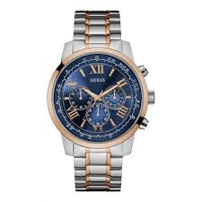 gold bracelet mens watches images Guess mens silver watch gold trim blue chronograph dial and rose jpg