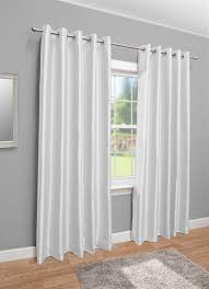 White Faux Silk Curtains Faux Silk Eyelet Fully Lined Curtains