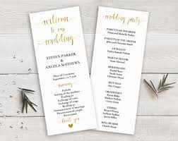 cheap wedding ceremony programs gold wedding program etsy