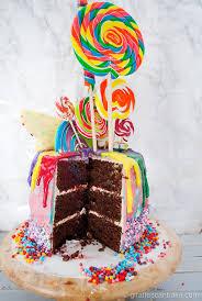 rainbow lollipop birthday cake giraffes bake