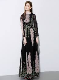 maxi dresses with sleeves black floral print sleeve chiffon maxi dress abaday