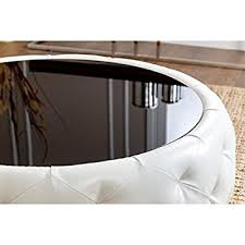 round leather coffee table amazon com abbyson living havana round leather coffee table coffee