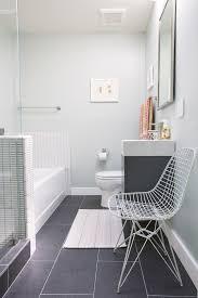 teak bath mat in bathroom contemporary with gray tile floor