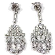 diamond chandelier earrings platinum set diamond chandelier earrings antique jewellery uk