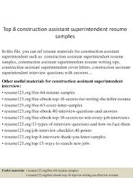 Construction Superintendent Resume Templates Top 8 Construction Assistant Superintendent Resume Samples 1 638 Jpg Cb U003d1432819662