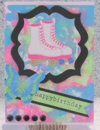 1980s birthday card a2 handmade greeting card roller skates neon