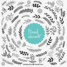 floral decorative elements vector free