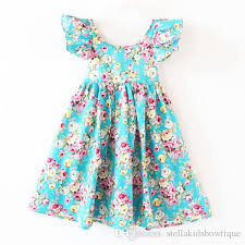 best children clothes teal floral baby girls beach dress summer