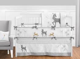 White Crib Set Bedding Sweet Jojo Grey White Dandelion Deer Forest Fawn Baby Boy