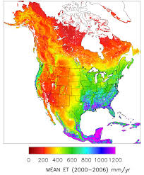 North America Climate Map by Modis Global Evapotranspiration Project Mod16 Numerical
