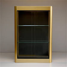 wall display cabinet with glass doors gold wall display cabinet with sliding glass doors 1970s for sale