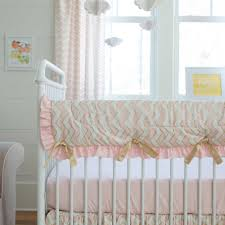 pale pink and gold chevron crib rail cover carousel designs