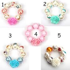 beaded chain bracelet images Girls beaded print flower bracelet baby girl resin flower chain jpg