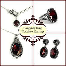 swarovski crystal necklace set images Burgundy swarovski jewelry set earrings necklace ring aranwen 39 s jpg