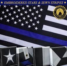 Blue White And Black Flag 16 99 Thin Blue Line Police Flag Embroidered Stars Sewn Stripes 2