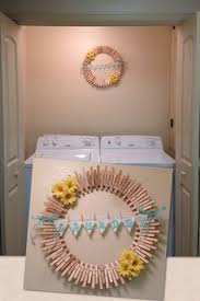 Diy Laundry Room Decor Clothes Pin Wreath W Fish Shell By Nohodesigns On Etsy