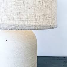 image of mid century ceramic table lamp large bases jane lamps australia cream earthenware or pottery