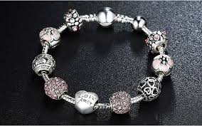 silver bead bangle bracelet images Pink flower crystal love charm silver bead bangle bracelet jpg