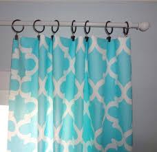 interior design calming aqua blue and white geometric curtain