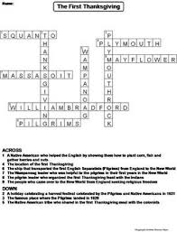 the thanksgiving worksheet crossword puzzle by science spot