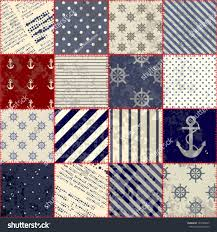 Nautical Quilt Seamless Background Pattern Will Tile Endlessly Stock Vector