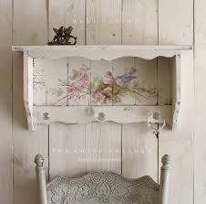 shabby chic vintage style bluebird and roses shelf with crystal