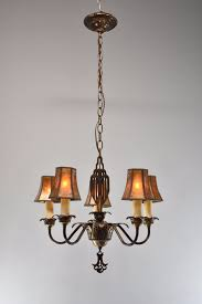 Art Deco Ceiling Lamp Vintage Art Deco 5 Arm Chandelier Light Fixture In Bronze Tone