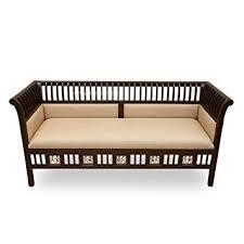 Exclusivelane Teak Wood  Seater Sofa With Dhokra Work Sofa Set - Teak wood sofa sets