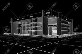 Modern House Design 3d Modern House Design In A Blueprint Style Stock Photo Picture