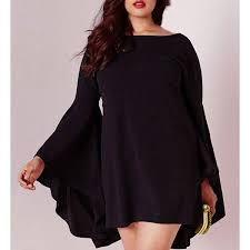 plus size dresses sweet black boat collar long bell bottom