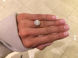 scalloped engagement ring solitare brilliant white scalloped prong set halo