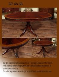 Round Dining Tables With Leaf 48 Inch Round Mahogany Pedestal Table With Leaf