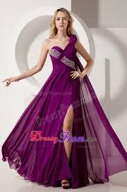 Dark Purple Colors One Shoulder Beading Prom Formal Dresses In Dark Purple
