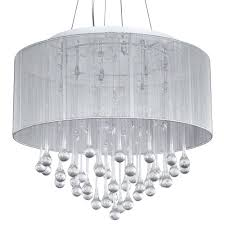 Fabric Pendant Light by Loose Chandelier Crystal White Fabric Shade Crystal Modern Drum