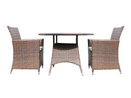 furniture round rattan dining table with two arm chair with