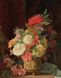 an opulent floral still with ornamental vases by rosalia amon