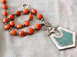pendant necklace turquoise images Mexican coral and turkish turquoise pendant necklace touchstones jpg