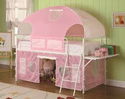Amazoncom Girls Tent Twin Size Loft Bunk Bed In Light Pink - Loft bunk beds for girls