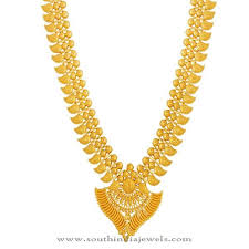 pattern gold necklace images Kerala gold haram design from lalitha jewellery long gold chains jpg