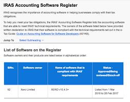 list of software xero receives iras certification