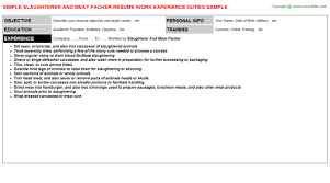 Packer Job Description For Resume by Slaughterer And Meat Packer Job Title Docs