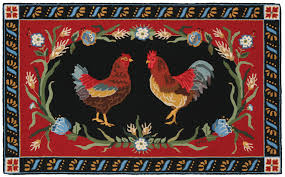 Round Rooster Rug Chanticleer Rooster 3x5 Hand Hooked Rug Claire Murray