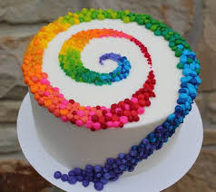 cake birthday beautiful cake pictures colorful patterned swirl on white cake