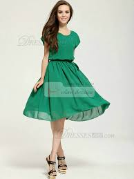 a line knee length chiffon sashes hunter prom dresses with