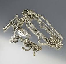 vintage silver bracelet charms images Antique silver albertina watch chain bracelet tassel charms boylerpf jpg