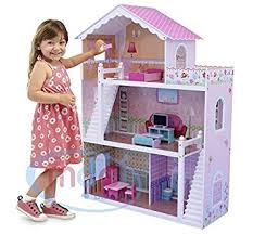 Barbie Dollhouse Plans How To by Mcc Wooden Kids Doll House With Furniture U0026 Staircase Fits Barbie