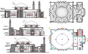 floor plan of mosque architecture layout plan of iranian mosque elevation dwg file